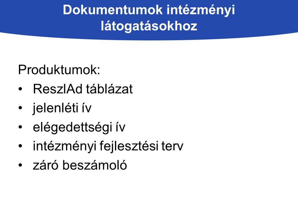 Dokumentumok intézményi látogatásokhoz Produktumok: ReszlAd táblázat jelenléti ív elégedettségi ív intézményi fejlesztési terv záró beszámoló