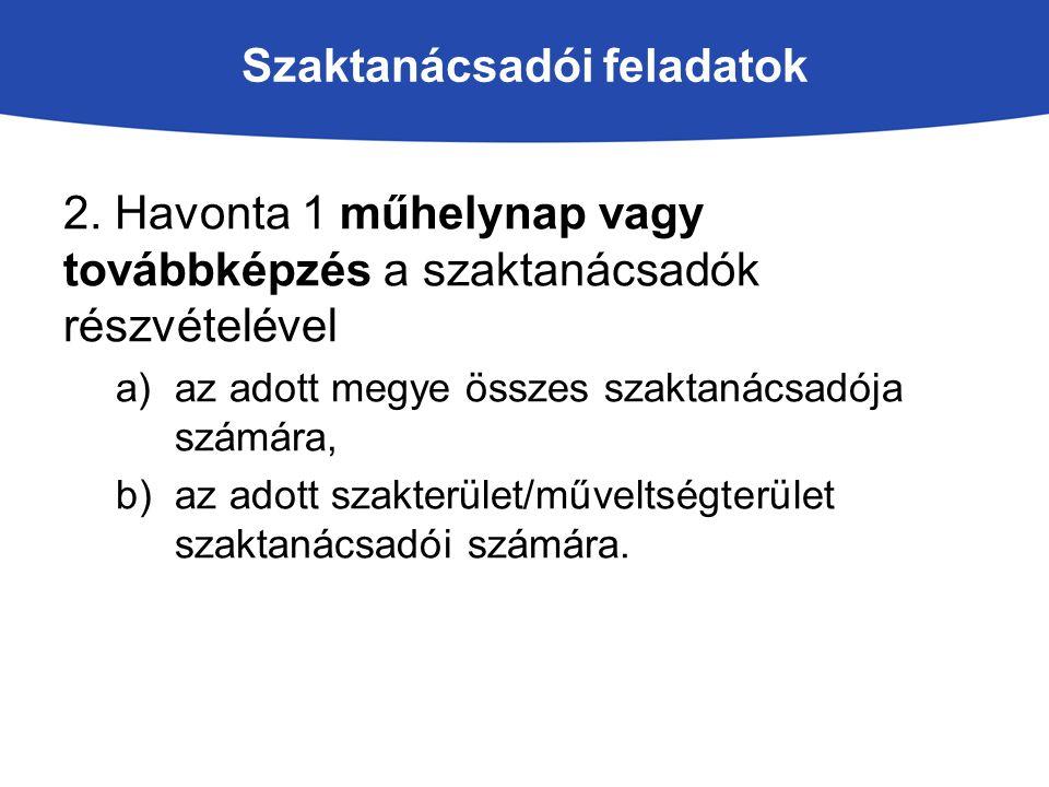 Szaktanácsadói feladatok 2. Havonta 1 műhelynap vagy továbbképzés a szaktanácsadók részvételével a)az adott megye összes szaktanácsadója számára, b)az