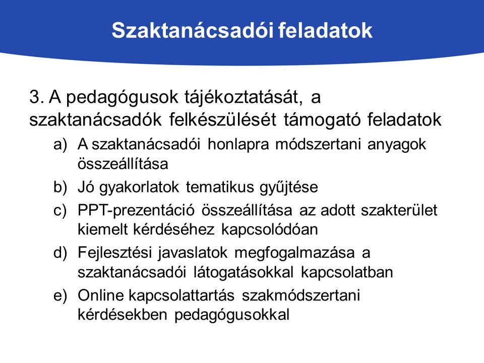 Szaktanácsadói feladatok 3. A pedagógusok tájékoztatását, a szaktanácsadók felkészülését támogató feladatok a)A szaktanácsadói honlapra módszertani an