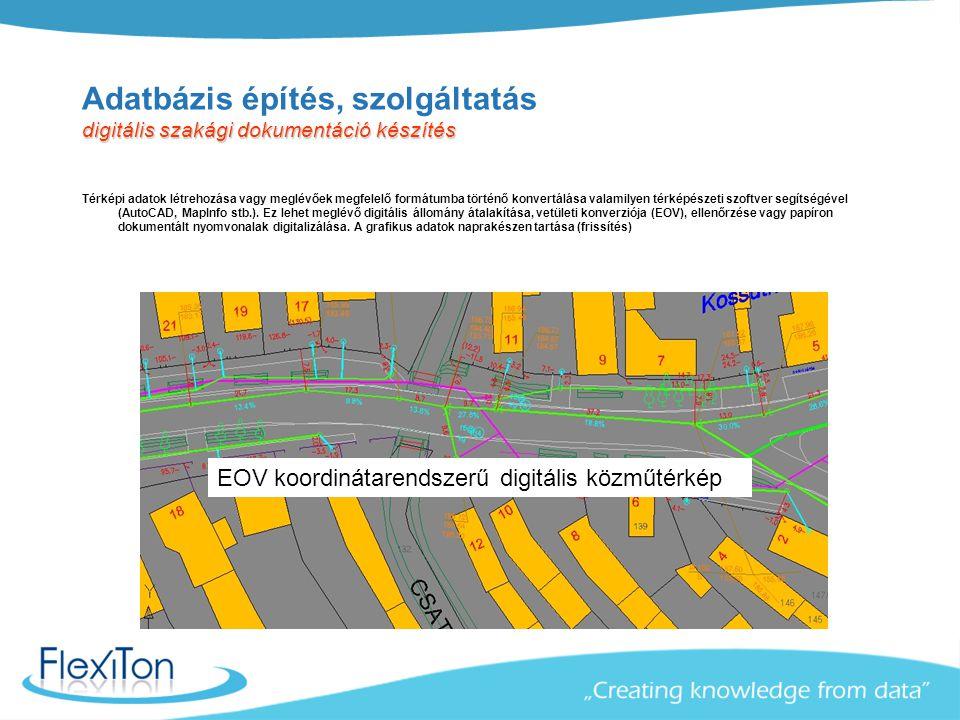 Papír sávtérkép digitális szakági dokumentáció készítés Adatbázis építés, szolgáltatás digitális szakági dokumentáció készítés Térképi adatok létrehoz