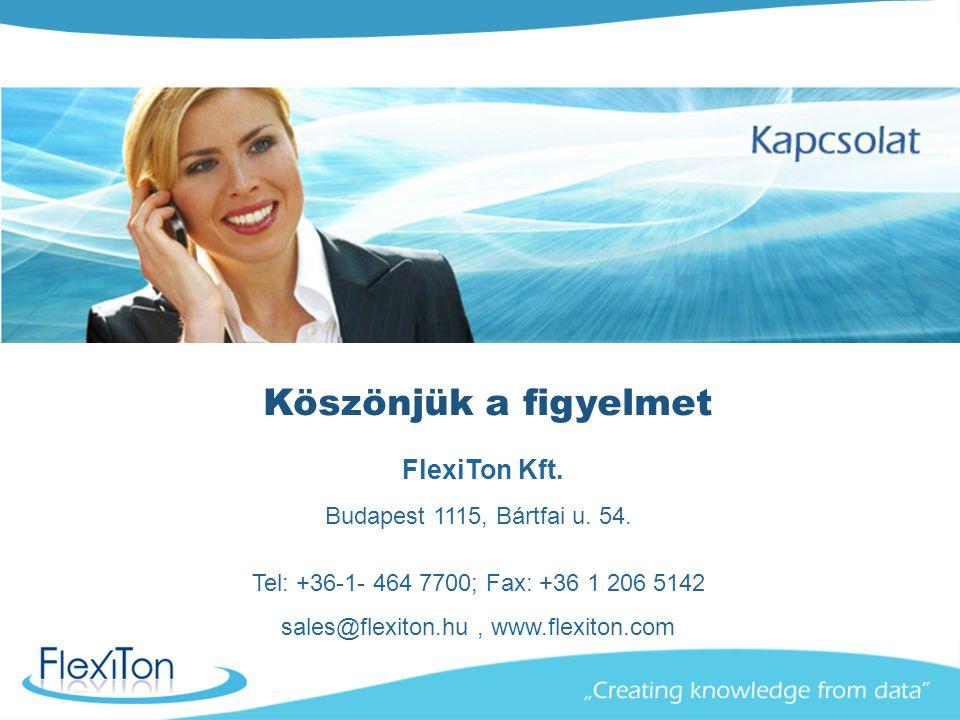 FlexiTon Kft. Budapest 1115, Bártfai u. 54. Tel: +36-1- 464 7700; Fax: +36 1 206 5142 sales@flexiton.hu, www.flexiton.com Köszönjük a figyelmet