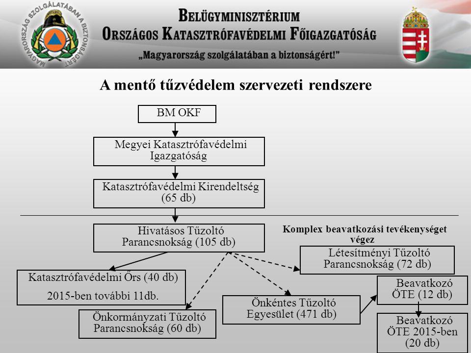 A mentő tűzvédelem szervezeti rendszere BM OKF Megyei Katasztrófavédelmi Igazgatóság Katasztrófavédelmi Kirendeltség (65 db) Hivatásos Tűzoltó Parancs
