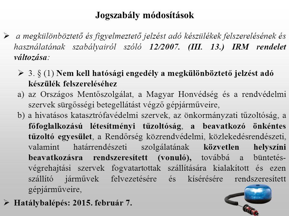  a megkülönböztető és figyelmeztető jelzést adó készülékek felszerelésének és használatának szabályairól szóló 12/2007. (III. 13.) IRM rendelet válto
