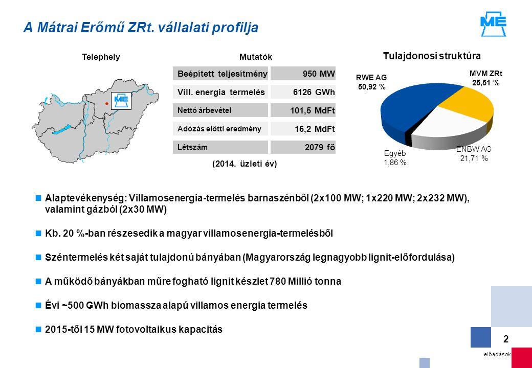 előadások 2 Alaptevékenység: Villamosenergia-termelés barnaszénből (2x100 MW; 1x220 MW; 2x232 MW), valamint gázból (2x30 MW) Kb. 20 %-ban részesedik a