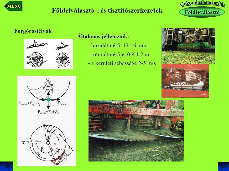 Földelválasztó-, és tisztítószerkezetek Forgórostélyok elhelyezése Földleválasztó MENÜ