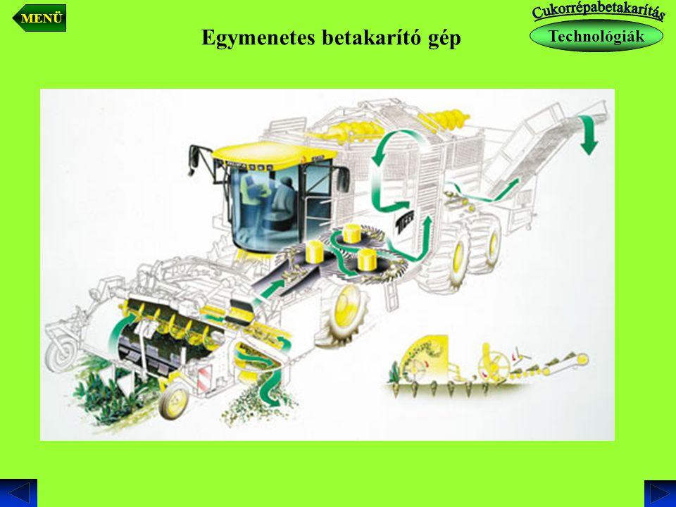 Technológiák MENÜ Egymenetes betakarító gép