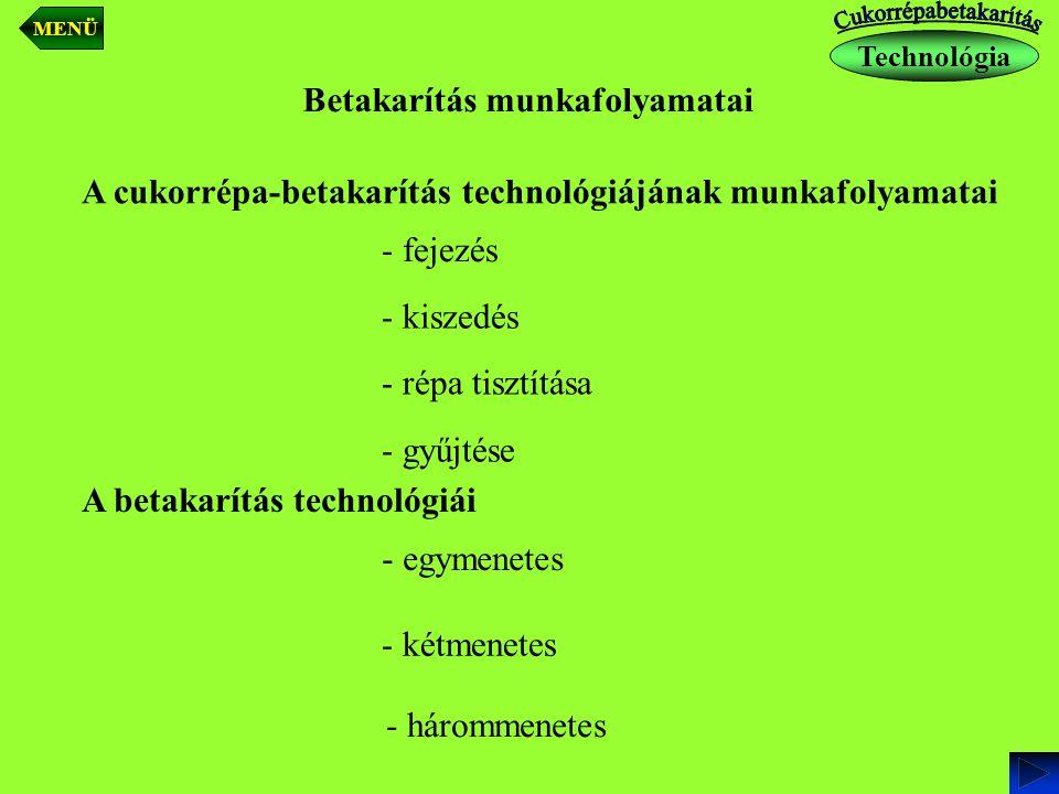 A cukorrépa-betakarítás technológiájának munkafolyamatai - fejezés - kiszedés - répa tisztítása - gyűjtése - egymenetes - kétmenetes - hárommenetes Be