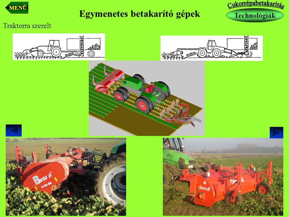 Traktorra szerelt Egymenetes betakarító gépek Technológiák MENÜ