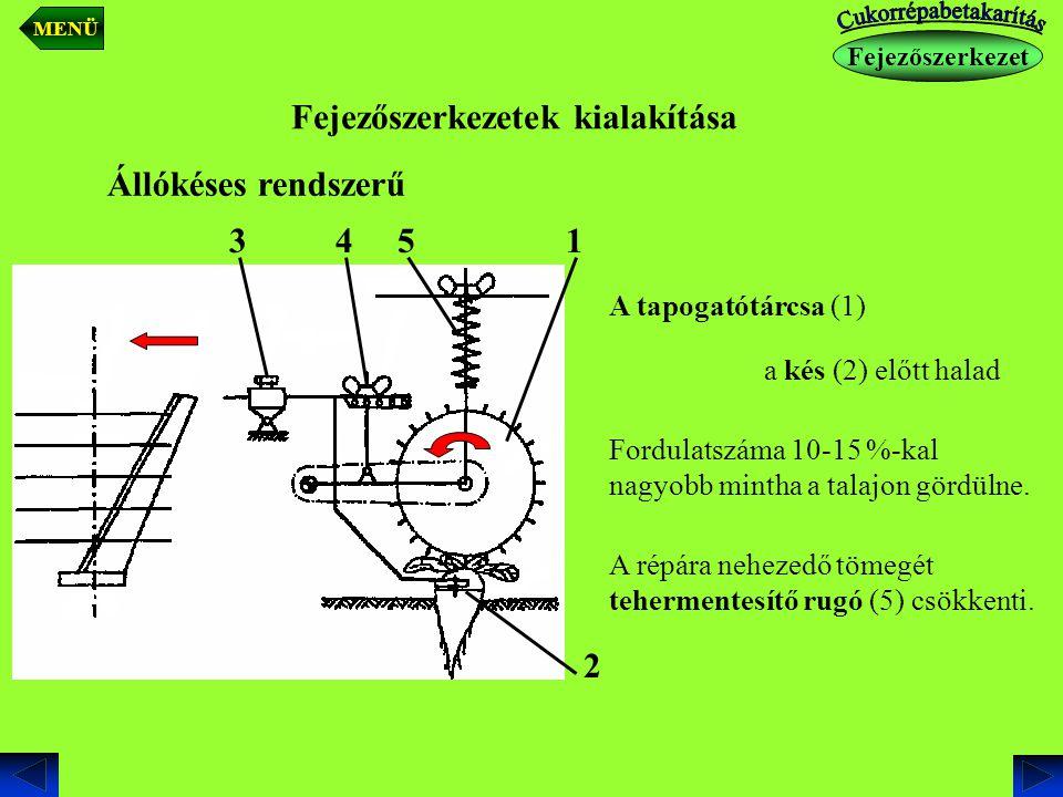 Fejezőszerkezetek kialakítása Állókéses rendszerű A tapogatótárcsa (1) a kés (2) előtt halad Fordulatszáma 10-15 %-kal nagyobb mintha a talajon gördül
