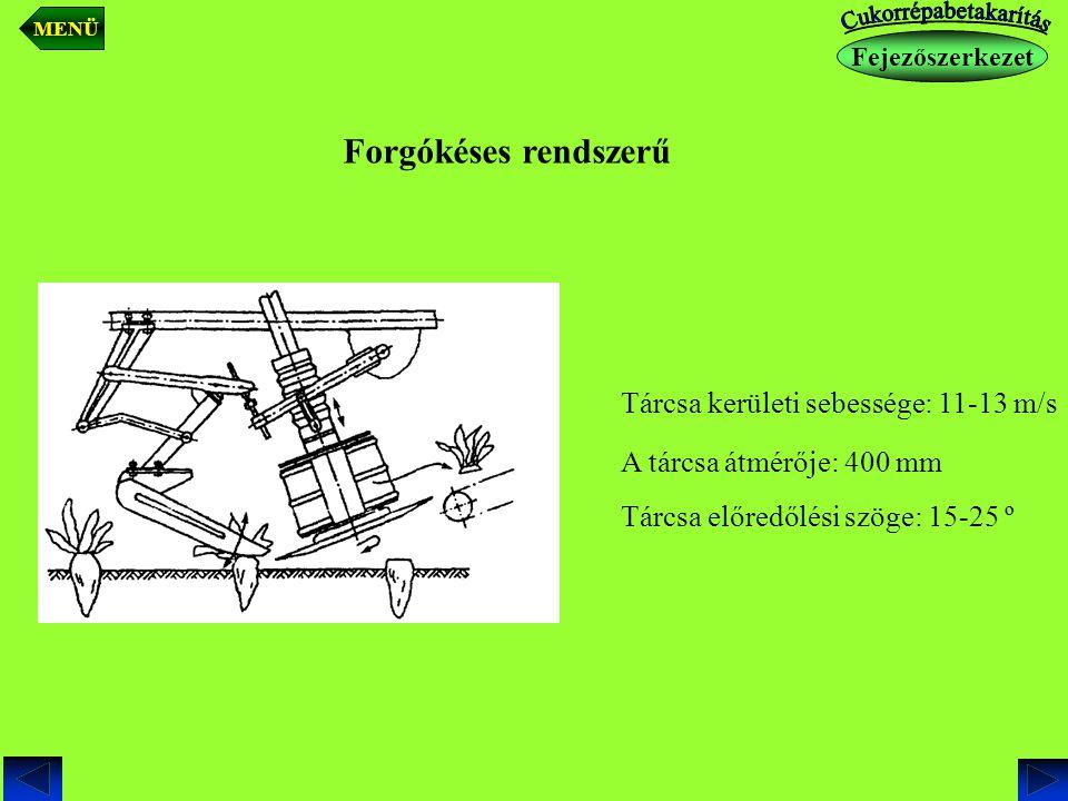 Gareford rendszerű (Ritkán alkalmazott) Tárcsa átmérője: 350 mm A tárcsa közötti acéllapok száma: 16 A késdob a szecskázódobhoz hasonlít.