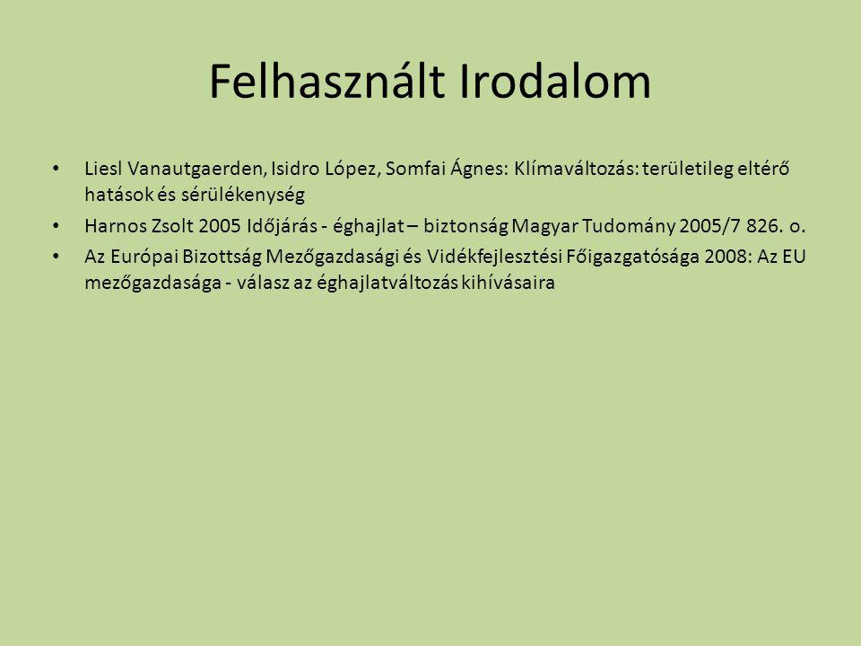 Felhasznált Irodalom Liesl Vanautgaerden, Isidro López, Somfai Ágnes: Klímaváltozás: területileg eltérő hatások és sérülékenység Harnos Zsolt 2005 Időjárás - éghajlat – biztonság Magyar Tudomány 2005/7 826.