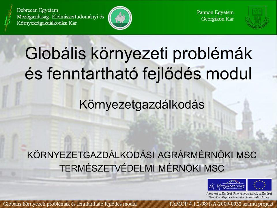 Globális környezeti problémák és fenntartható fejlődés modul Környezetgazdálkodás KÖRNYEZETGAZDÁLKODÁSI AGRÁRMÉRNÖKI MSC TERMÉSZETVÉDELMI MÉRNÖKI MSC