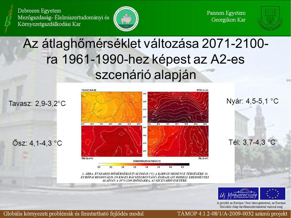 Az átlaghőmérséklet változása 2071-2100- ra 1961-1990-hez képest az A2-es szcenárió alapján Tavasz: 2,9-3,2°C Nyár: 4,5-5,1 °C Ősz: 4,1-4,3 °C Tél: 3,