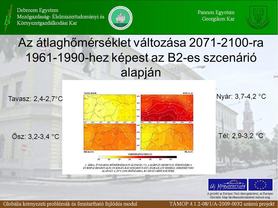 Az átlaghőmérséklet változása 2071-2100-ra 1961-1990-hez képest az B2-es szcenárió alapján Tavasz: 2,4-2,7°C Nyár: 3,7-4,2 °C Ősz: 3,2-3,4 °C Tél: 2,9-3,2 °C