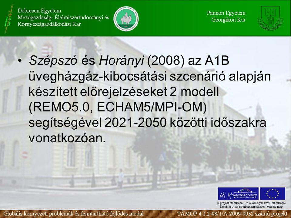 Szépszó és Horányi (2008) az A1B üvegházgáz-kibocsátási szcenárió alapján készített előrejelzéseket 2 modell (REMO5.0, ECHAM5/MPI-OM) segítségével 2021-2050 közötti időszakra vonatkozóan.