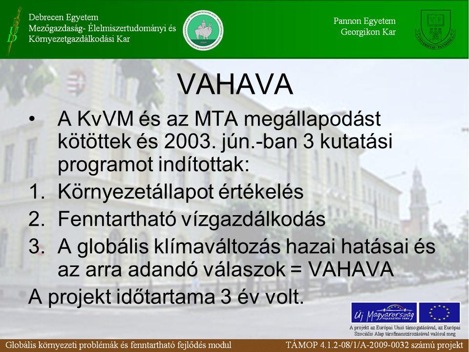 VAHAVA A KvVM és az MTA megállapodást kötöttek és 2003. jún.-ban 3 kutatási programot indítottak: 1.Környezetállapot értékelés 2.Fenntartható vízgazdá