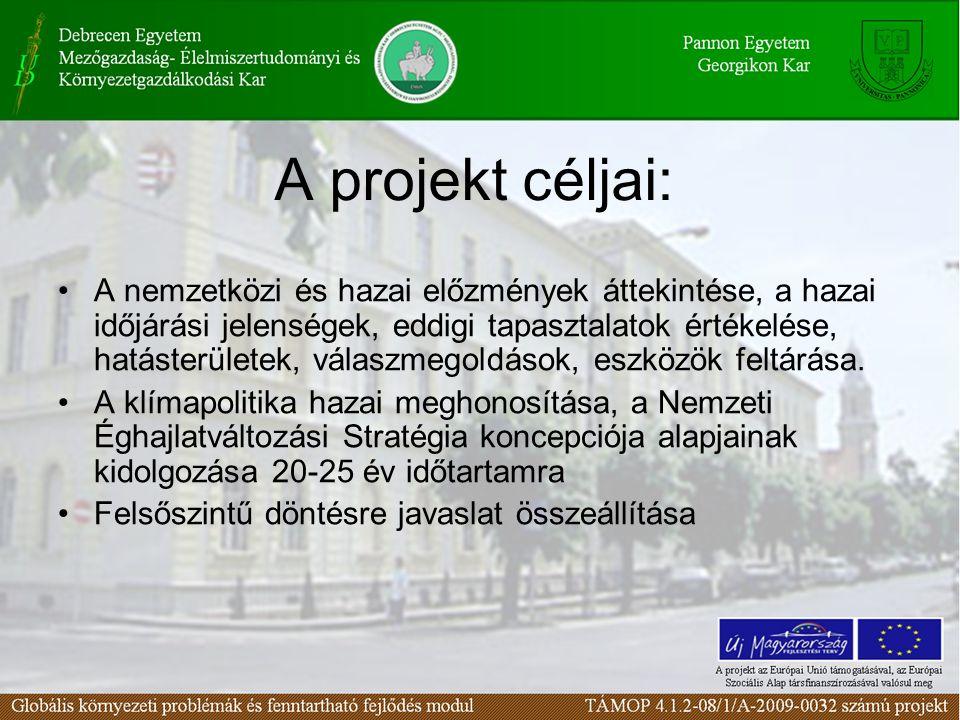 A projekt céljai: A nemzetközi és hazai előzmények áttekintése, a hazai időjárási jelenségek, eddigi tapasztalatok értékelése, hatásterületek, válaszm