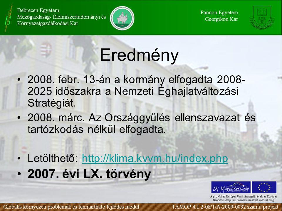 Eredmény 2008. febr. 13-án a kormány elfogadta 2008- 2025 időszakra a Nemzeti Éghajlatváltozási Stratégiát. 2008. márc. Az Országgyűlés ellenszavazat