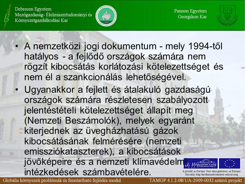A nemzetközi jogi dokumentum - mely 1994-től hatályos - a fejlődő országok számára nem rögzít kibocsátás korlátozási kötelezettséget és nem él a szank
