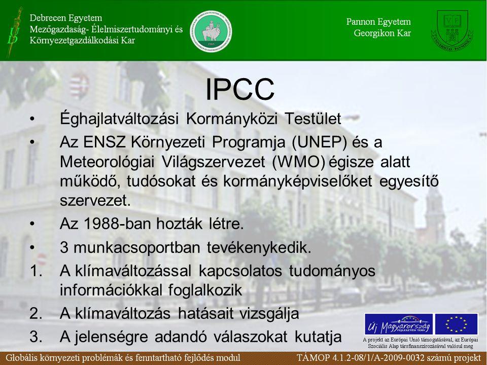 IPCC Éghajlatváltozási Kormányközi Testület Az ENSZ Környezeti Programja (UNEP) és a Meteorológiai Világszervezet (WMO) égisze alatt működő, tudósokat és kormányképviselőket egyesítő szervezet.