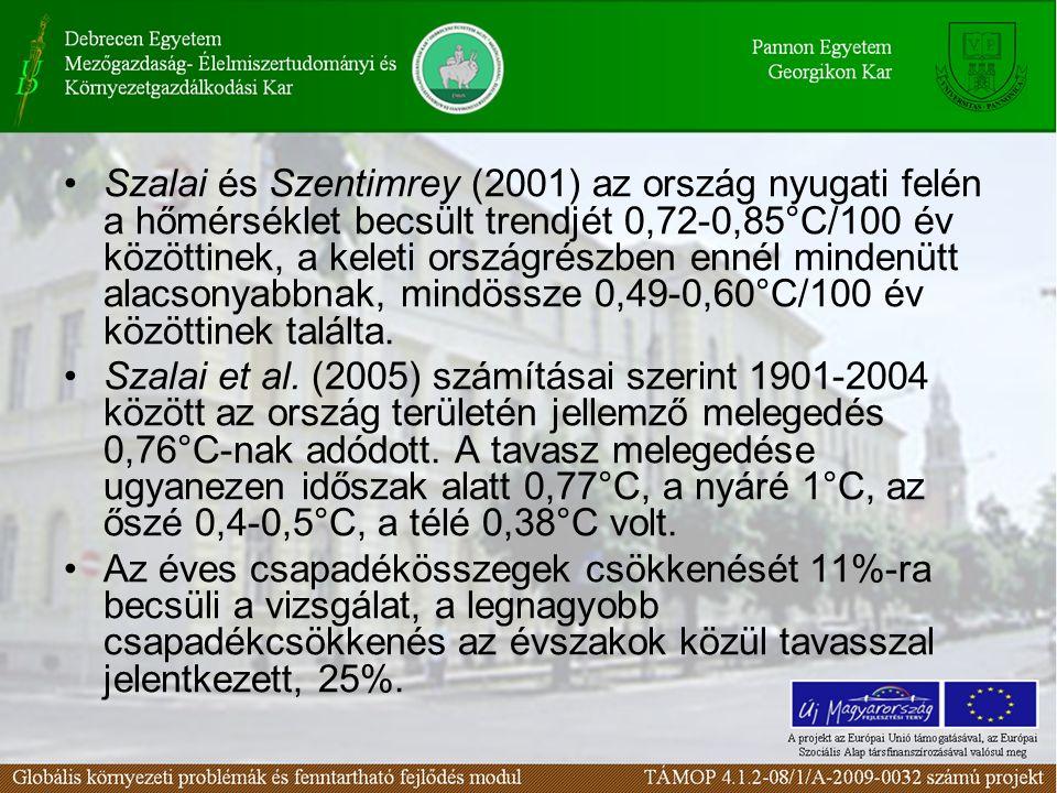 Szalai és Szentimrey (2001) az ország nyugati felén a hőmérséklet becsült trendjét 0,72-0,85°C/100 év közöttinek, a keleti országrészben ennél mindenütt alacsonyabbnak, mindössze 0,49-0,60°C/100 év közöttinek találta.
