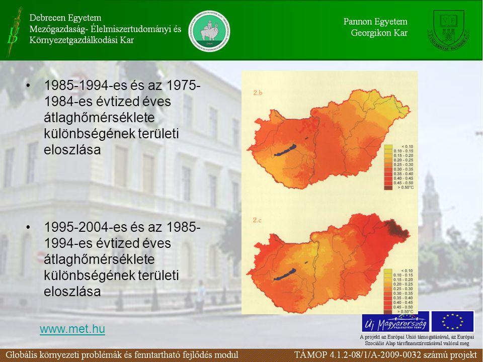1985-1994-es és az 1975- 1984-es évtized éves átlaghőmérséklete különbségének területi eloszlása 1995-2004-es és az 1985- 1994-es évtized éves átlaghő