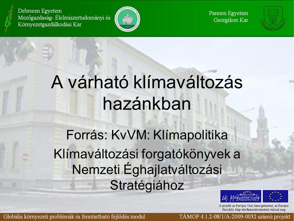 A várható klímaváltozás hazánkban Forrás: KvVM: Klímapolitika Klímaváltozási forgatókönyvek a Nemzeti Éghajlatváltozási Stratégiához