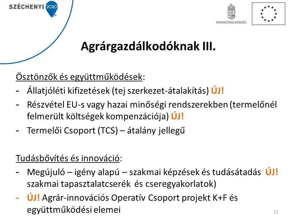 Agrárgazdálkodóknak III. Ösztönzők és együttműködések: - Állatjóléti kifizetések (tej szerkezet-átalakítás) ÚJ! - Részvétel EU-s vagy hazai minőségi r