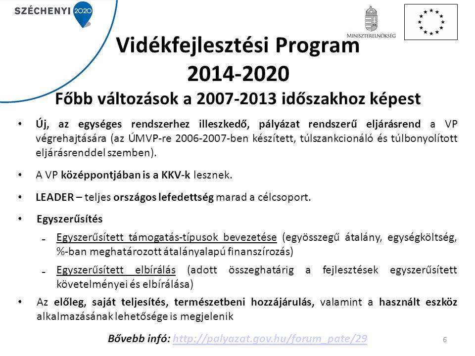 Vidékfejlesztési Program 2014-2020 Főbb változások a 2007-2013 időszakhoz képest Új, az egységes rendszerhez illeszkedő, pályázat rendszerű eljárásren