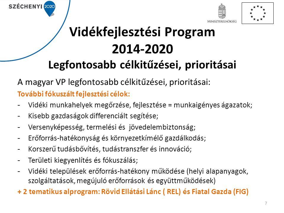 Vidékfejlesztési Program 2014-2020 Legfontosabb célkitűzései, prioritásai A magyar VP legfontosabb célkitűzései, prioritásai: További fókuszált fejles