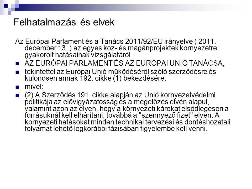 Felhatalmazás és elvek Az Európai Parlament és a Tanács 2011/92/EU irányelve ( 2011. december 13. ) az egyes köz- és magánprojektek környezetre gyakor