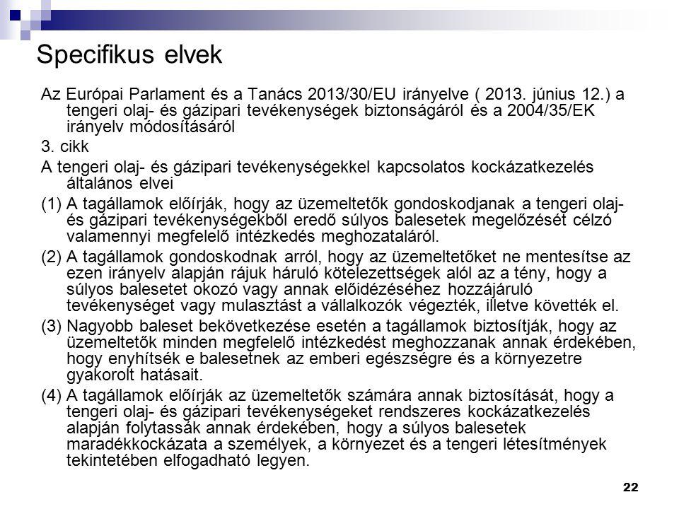 22 Specifikus elvek Az Európai Parlament és a Tanács 2013/30/EU irányelve ( 2013. június 12.) a tengeri olaj- és gázipari tevékenységek biztonságáról