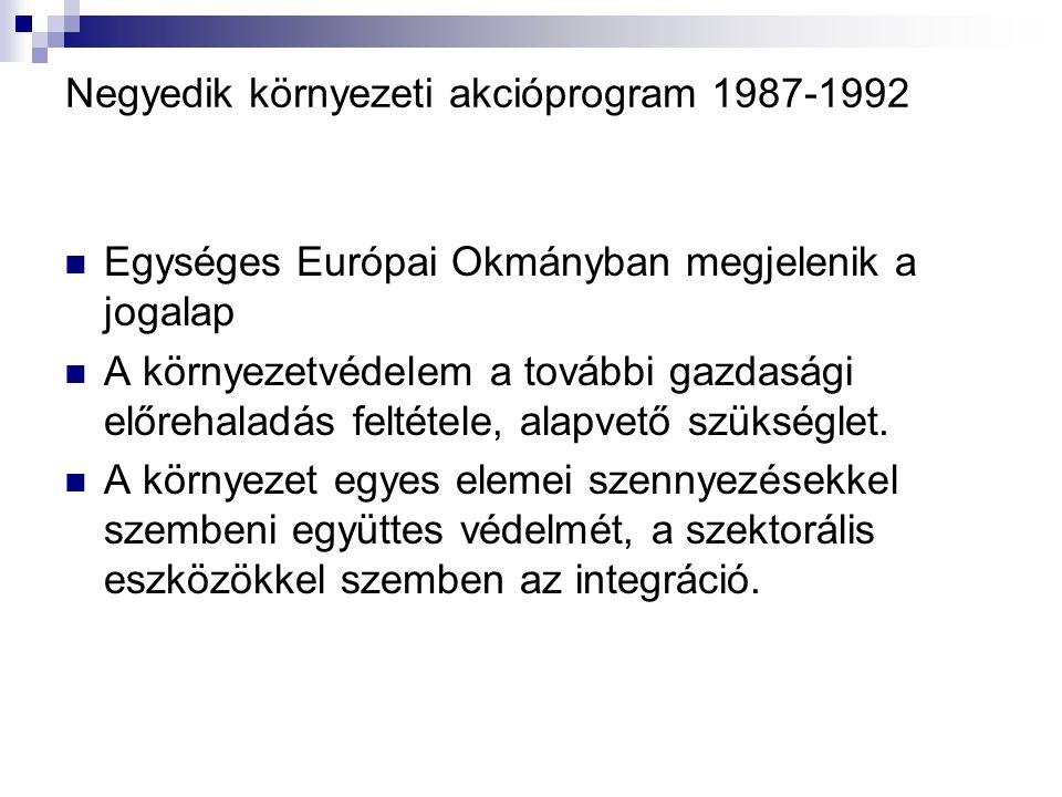Negyedik környezeti akcióprogram 1987-1992 Egységes Európai Okmányban megjelenik a jogalap A környezetvédelem a további gazdasági előrehaladás feltéte