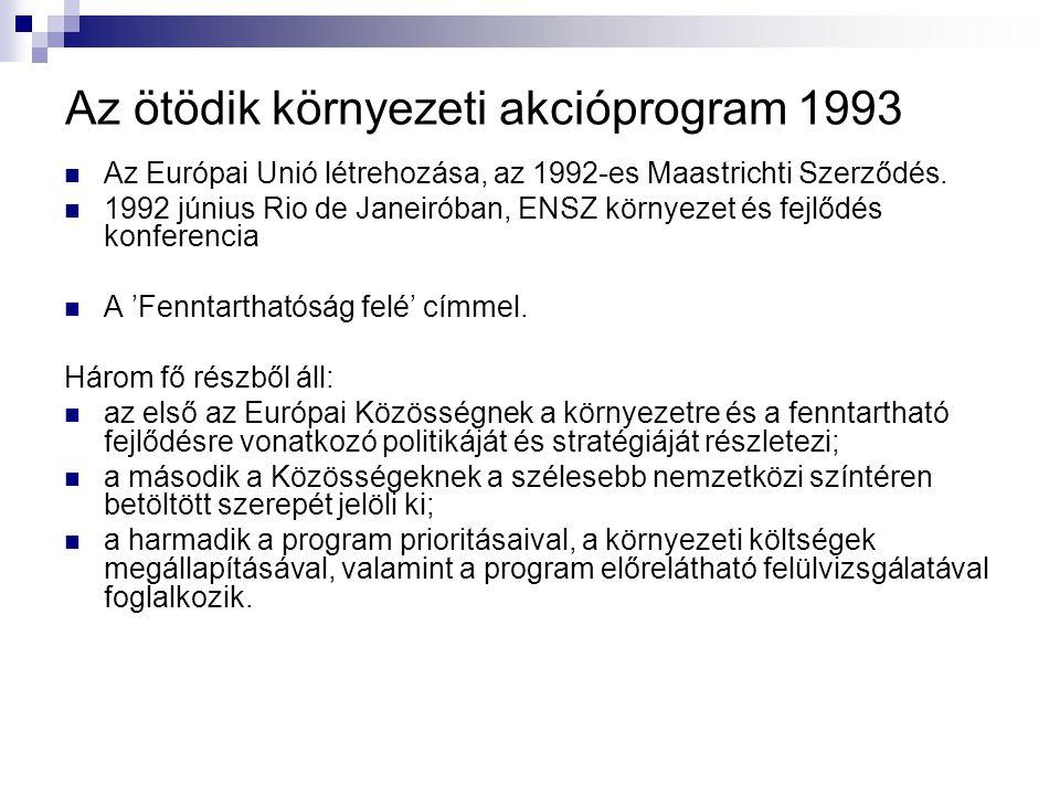 Az ötödik környezeti akcióprogram 1993 Az Európai Unió létrehozása, az 1992-es Maastrichti Szerződés. 1992 június Rio de Janeiróban, ENSZ környezet és