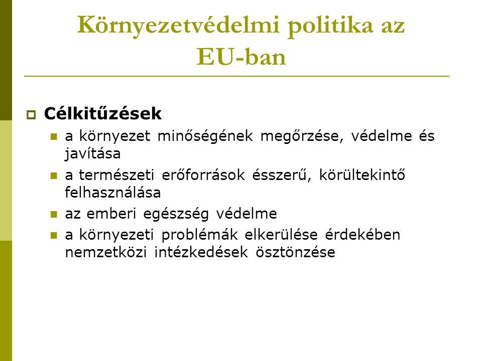 Környezetvédelmi politika az EU-ban  Célkitűzések a környezet minőségének megőrzése, védelme és javítása a természeti erőforrások ésszerű, körültekin