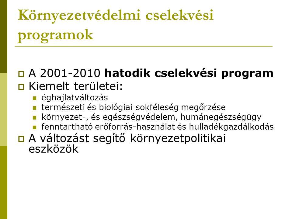 Környezetvédelmi cselekvési programok  A 2001-2010 hatodik cselekvési program  Kiemelt területei: éghajlatváltozás természeti és biológiai sokfélesé