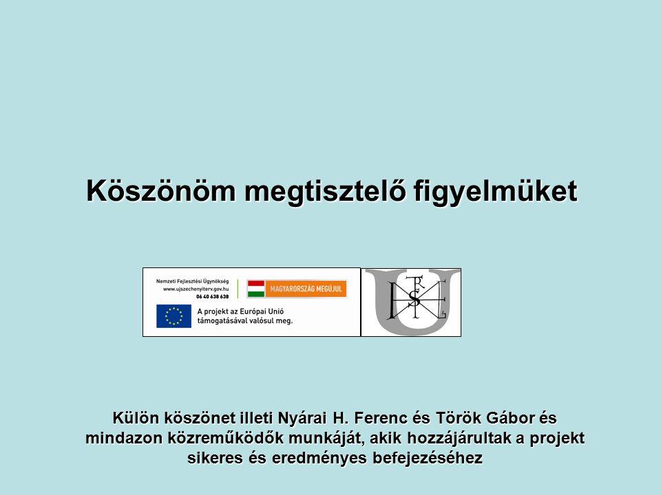 Köszönöm megtisztelő figyelmüket Külön köszönet illeti Nyárai H. Ferenc és Török Gábor és mindazon közreműködők munkáját, akik hozzájárultak a projekt