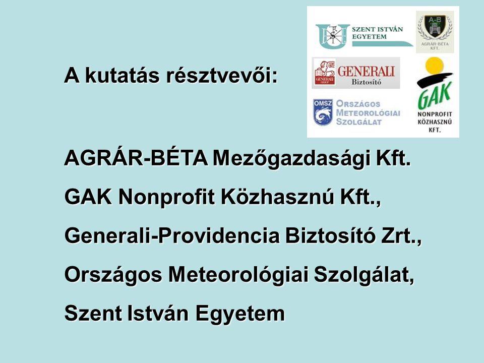 A kutatás résztvevői: AGRÁR-BÉTA Mezőgazdasági Kft. GAK Nonprofit Közhasznú Kft., Generali-Providencia Biztosító Zrt., Országos Meteorológiai Szolgála