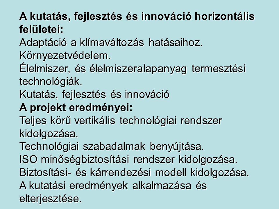 A kutatás, fejlesztés és innováció horizontális felületei: Adaptáció a klímaváltozás hatásaihoz. Környezetvédelem. Élelmiszer, és élelmiszeralapanyag
