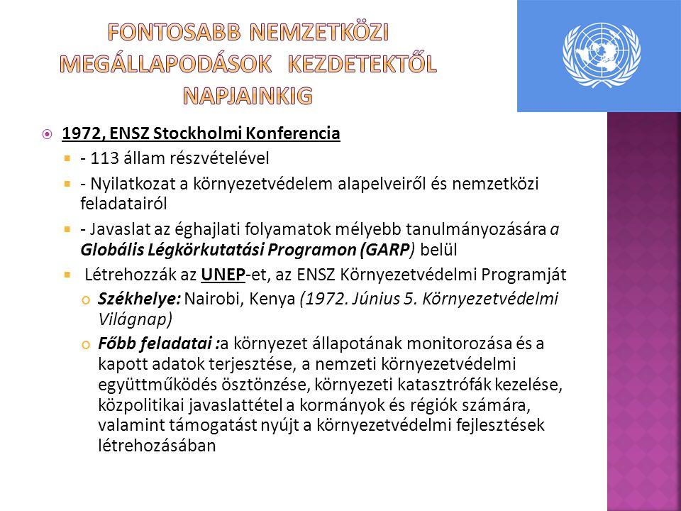  1972, ENSZ Stockholmi Konferencia  - 113 állam részvételével  - Nyilatkozat a környezetvédelem alapelveiről és nemzetközi feladatairól  - Javaslat az éghajlati folyamatok mélyebb tanulmányozására a Globális Légkörkutatási Programon (GARP) belül  Létrehozzák az UNEP-et, az ENSZ Környezetvédelmi Programját Székhelye: Nairobi, Kenya (1972.
