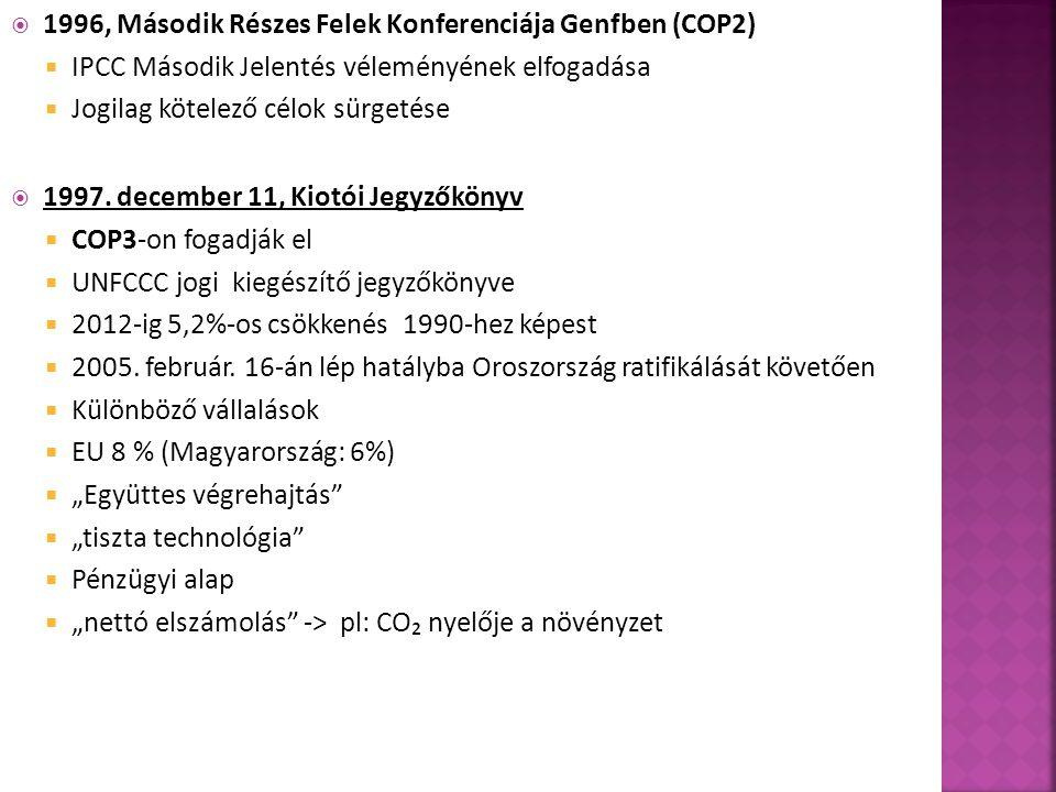  1996, Második Részes Felek Konferenciája Genfben (COP2)  IPCC Második Jelentés véleményének elfogadása  Jogilag kötelező célok sürgetése  1997.