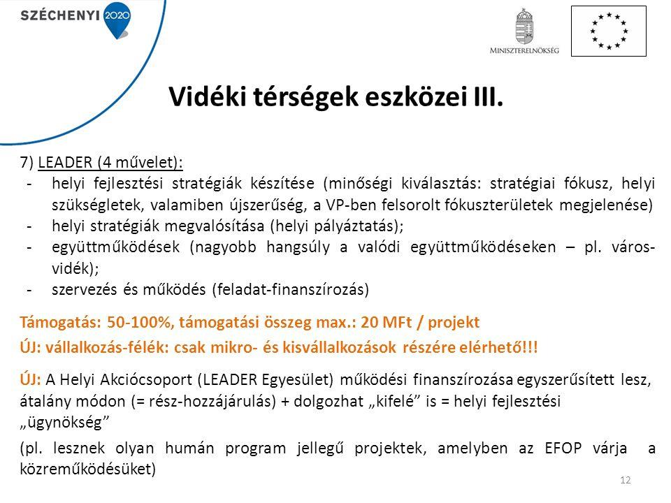 Vidéki térségek eszközei III. 7) LEADER (4 művelet): -helyi fejlesztési stratégiák készítése (minőségi kiválasztás: stratégiai fókusz, helyi szükségle
