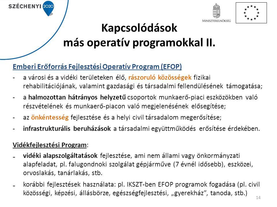 Emberi Erőforrás Fejlesztési Operatív Program (EFOP) -a városi és a vidéki területeken élő, rászoruló közösségek fizikai rehabilitációjának, valamint