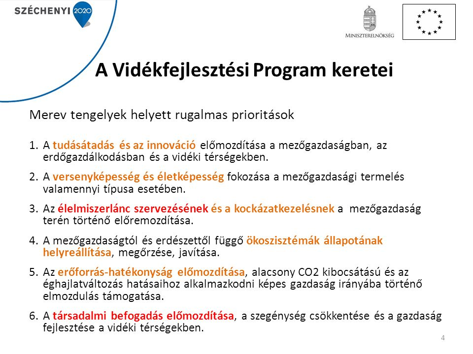 A Vidékfejlesztési Program keretei Merev tengelyek helyett rugalmas prioritások 1.A tudásátadás és az innováció előmozdítása a mezőgazdaságban, az erd