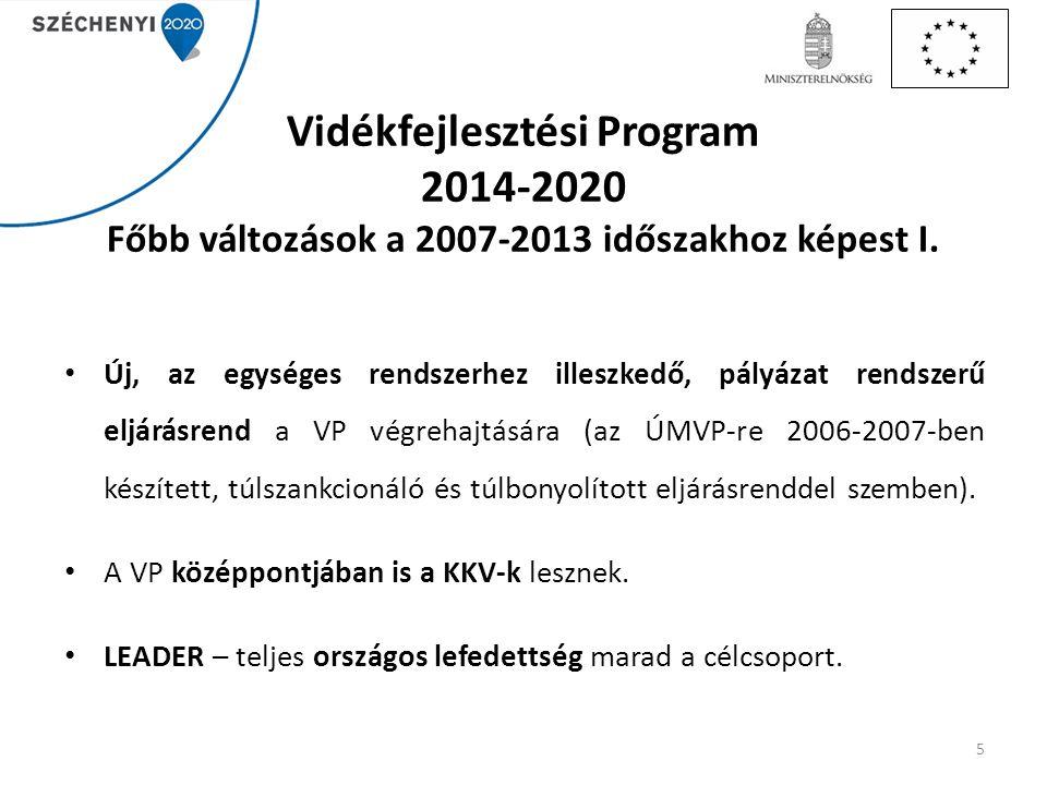 Vidékfejlesztési Program 2014-2020 Főbb változások a 2007-2013 időszakhoz képest I. Új, az egységes rendszerhez illeszkedő, pályázat rendszerű eljárás