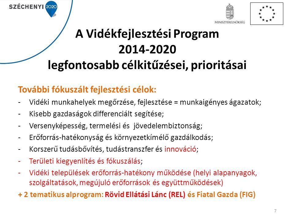 A Vidékfejlesztési Program 2014-2020 legfontosabb célkitűzései, prioritásai További fókuszált fejlesztési célok: -Vidéki munkahelyek megőrzése, fejles