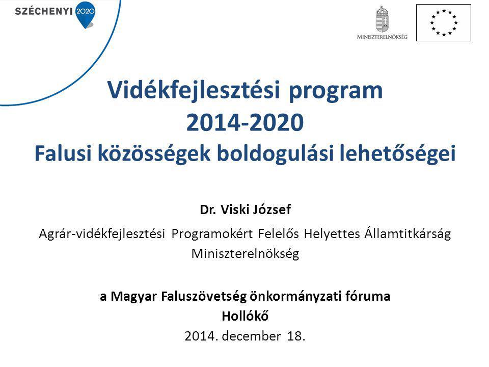 Vidékfejlesztési program 2014-2020 Falusi közösségek boldogulási lehetőségei Dr.