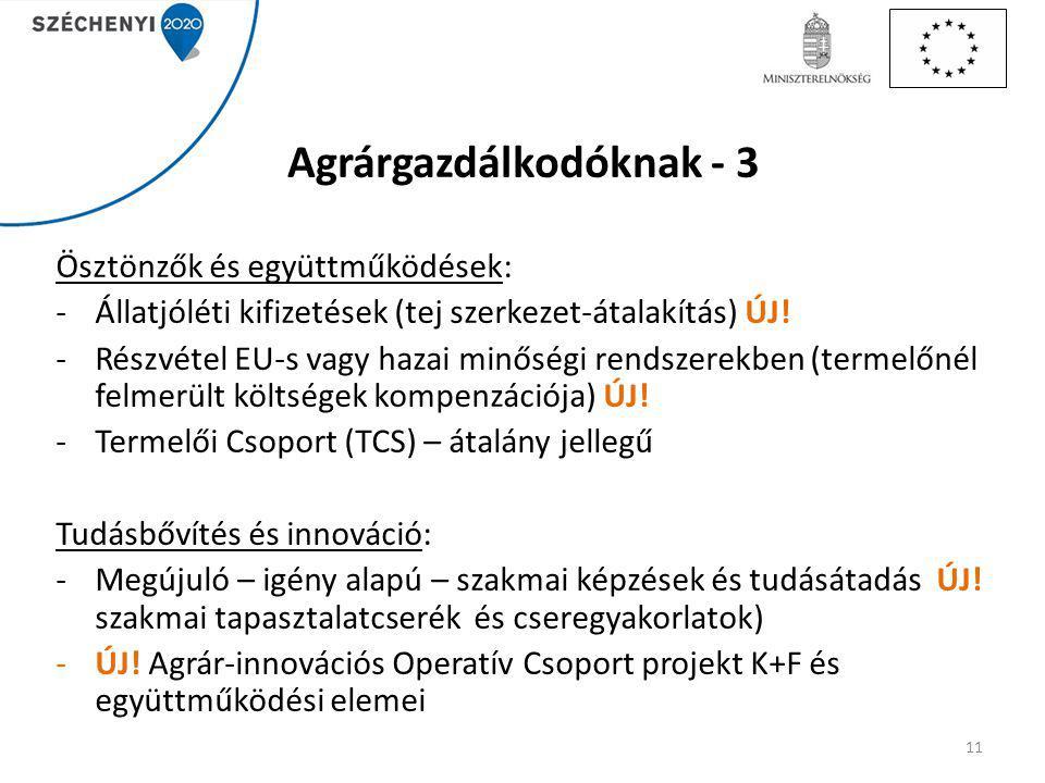 Agrárgazdálkodóknak - 3 Ösztönzők és együttműködések: -Állatjóléti kifizetések (tej szerkezet-átalakítás) ÚJ.