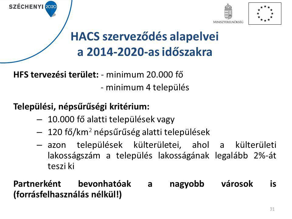 HACS szerveződés alapelvei a 2014-2020-as időszakra HFS tervezési terület: - minimum 20.000 fő - minimum 4 település Települési, népsűrűségi kritérium: – 10.000 fő alatti települések vagy – 120 fő/km 2 népsűrűség alatti települések – azon települések külterületei, ahol a külterületi lakosságszám a település lakosságának legalább 2%-át teszi ki Partnerként bevonhatóak a nagyobb városok is (forrásfelhasználás nélkül!) 31