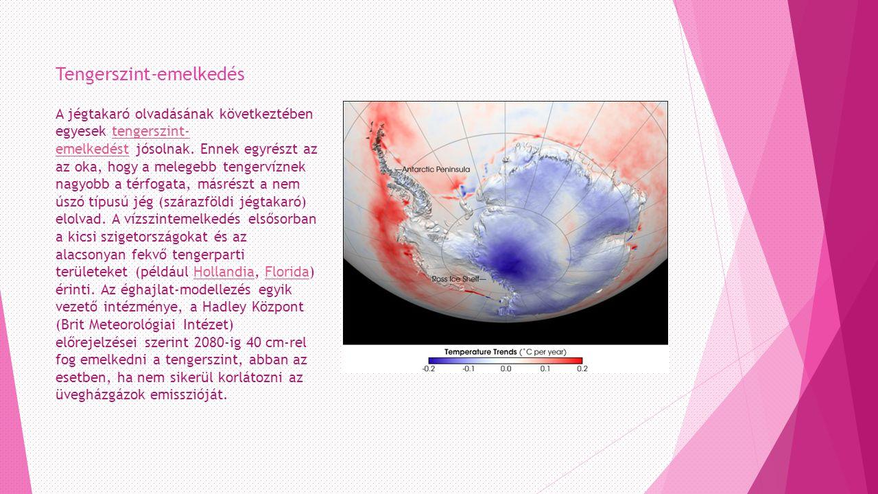 Tengerszint-emelkedés A jégtakaró olvadásának következtében egyesek tengerszint- emelkedést jósolnak.